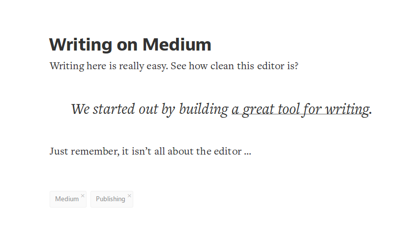 Medium's beautiful editor