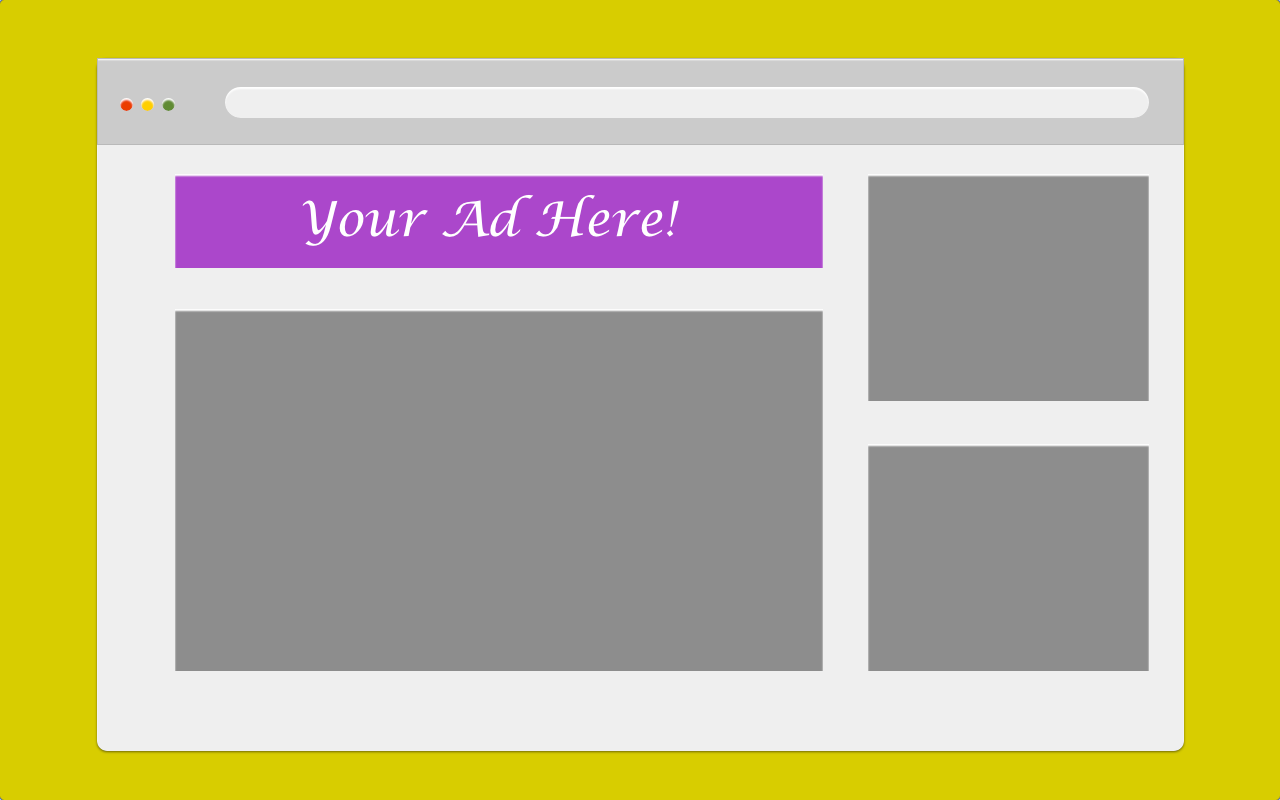 Generic browser mockup with banner ad