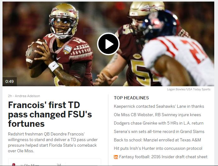 ESPN homepage, one of the top sports publishers of 2016