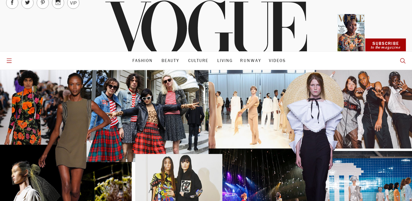 homepage of vogue website